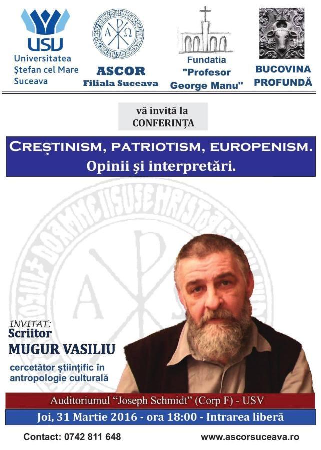 afis mugur vasiliu - crestinism patriotism europenism 31 mart 2016